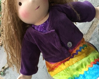 Custom Waldorf Inspired Doll Rainbow Waldorf Doll 15 - 16 inch