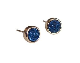 Cobalt Blue Druzy Stud Earrings