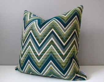 Jade Green Outdoor Pillow Cover, Olive Green & Blue Chevron Pillow Cover, Modern Sunbrella Pillow Cover, Decorative Cushion Cover, Mazizmuse