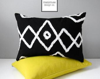 Black & White Outdoor Pillow Cover, Decorative Moroccan Pillow Cover, Modern Bohemian Throw Pillow Case, Sunbrella Beni Ourain Cushion Cover