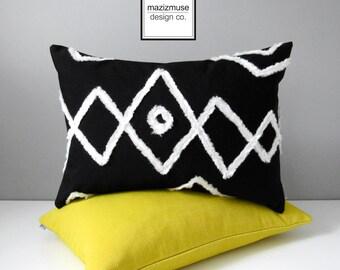 Black & White Outdoor Pillow Cover, Decorative Moroccan Tribal Pillow Cover, Modern Bohemian Decor, Sunbrella Beni Ourain Cushion Cover