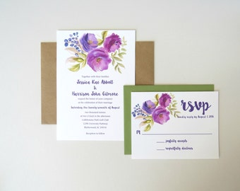 Purple Watercolor Floral Wedding Invitation Set with Response Card and Envelopes