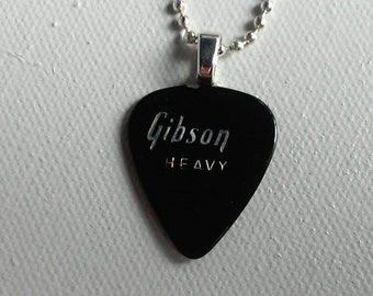 Gibson Heavy Guitar Pick Pendant - Unique Musician's Necklace - Vintage 1970s