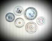 BLUE AND WHITE Transferware mismatched China plates for entertaining or Beautiful wall decor