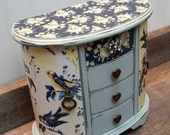 Cottage Blue Gray French Armoire Jewelry Box with Toile Bird motif Shabby Chic Jewelry Box