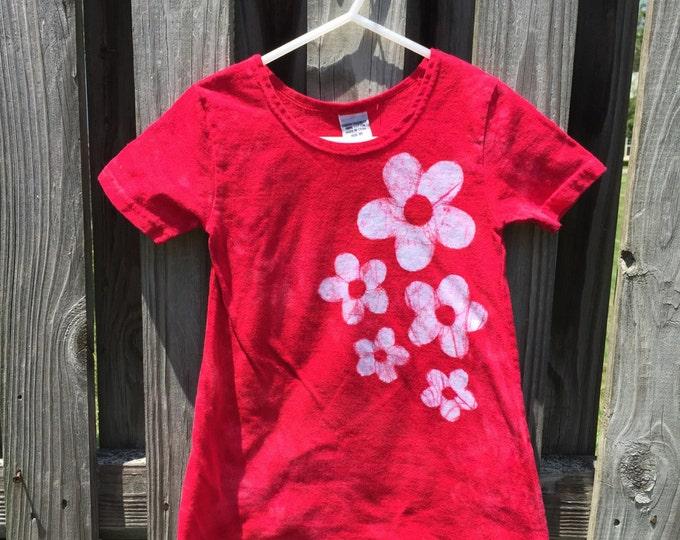 Flower Girls Dress, Girls Easter Dress, Red Girls Dress, Girls Flower Dress, Toddler Girls Dress, Batik Girls Dress, Red Dress (2T)