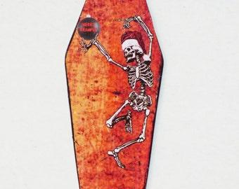 Gothic Christmas Ornament - Skeleton Ornament - Coffin Ornament - Creepy Christmas
