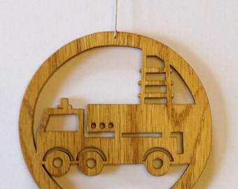Scroll saw cut woodworking firefighter ornament of a fire truck fretwork home decor ornament--800c