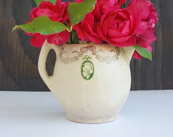 Chippy Creamer Vase, Edwardian or Antique, Green or Roman Medallions, Boudior or Guest Room Decor