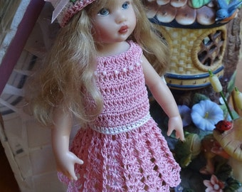 PDF PATTERN Crochet 7 1/2 8 inch Kish Riley Doll Scoop Neck Dress Flared skirt Hat Bow Shoes