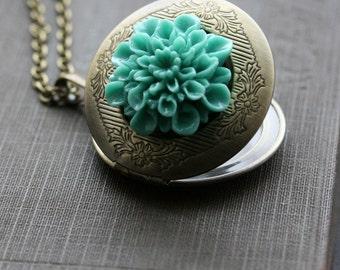 Round Locket Necklace , Jewelry Locket , Flower Locket, Locket with Blue Flower , For Her,  Gold Locket  Necklace - Something Blue