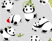 Japanese Tenugui Cotton Fabric, Hand Dyed Fabric, Kawaii Panda, Skate, Funny Animal Pattern, Winter, Wall Art Hanging, Gift Wrapping, h232