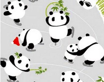 Japanese Tenugui Cotton Fabric, Hand Dyed Fabric, Kawaii Skating Panda, Funny Animal Print Fabric, Winter Fashion Fabric, Home Decor, h232