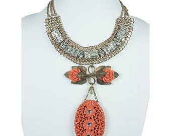 Coral Statement Necklace  N4919