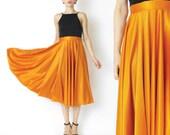 1970s Vintage Orange Skirt High Waisted Skirt Full Sweep Skirt Jersey Party Skirt Ballet Dancer Long Skirt Dramatic Bright Orange Skirt (S)