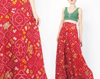 Indian Maxi Skirt Shibori Dyed Skirt Ethnic Embroidered Skirt Red Abstract Festival Skirt Hippie Folk Drawstring Waist Skirt (M/L) E406