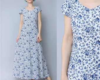 1990s Grunge Floral Maxi Dress Cut Out Open Back Dress Blue White Ditsy Floral Print Dress Short Sleeve Summer Button Up Front (S/M) E381