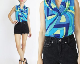 90s Modern Op Art Tank Cowl Neck Tank Top Blue Abstract Print Tank Top Mod Pucci Style Print Sleeveless Colorful Stretchy Spandex Tank (S/M)