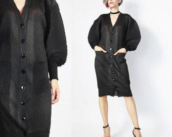 30% OFF SALE Jean Paul Gaultier Dress Maille Femme Sheer Black Pleated Dress Goth Sculptural Batwing Sleeves Designer Cardigan (S)