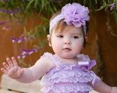Childrens Shabby Chic Purple Chiffon Flower Headband...Its a Bows Life