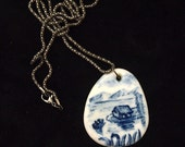 Porcelain large blue and white pendant with bonus black/ silver tone chain cobalt oxide delft ceramic Anita Reay AnitaReayArt