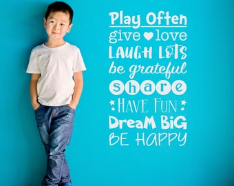 Play Often Wall Decal - Playroom Wall Sticker - Give Love - Share - Have Fun - Children Wall Decal