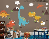 Dinosaur Wall Decals, Dinosaur Decor, Wall Art, Wall Decor Decals with Clouds, Mountains and Volcanos