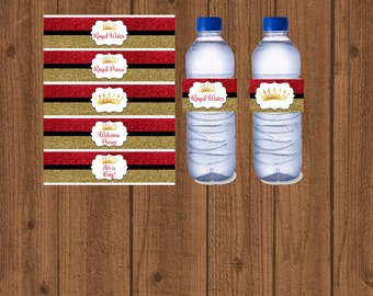 baby shower water bottle red and gold prince red gold boy baby