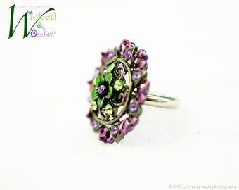 FAIRY RING: Lilac fairy ring for girls in purple and green, Spring ring, purple fairy jewelry, for fairy costume