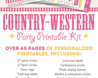 Pink Country-Western Birthday Party Printable Decor Kit - Over 60 pages of personalized designs!