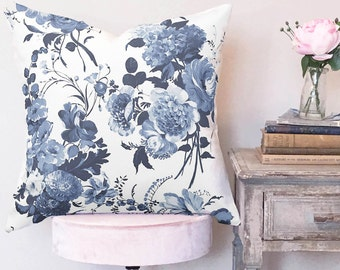 Pillow Cover Indigo Rose Floral