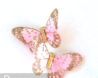 Pink and Gold Butterfly (3 butterflies) for bridal accessories, party favors, girls hair clips,fairy cosplay,scrapbooking, wedding bouquet