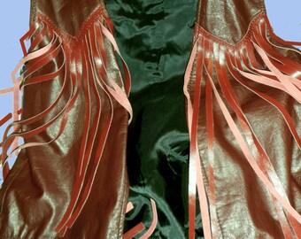 Men's or Woman's Leather Fringe Vest  Label Sz  XL