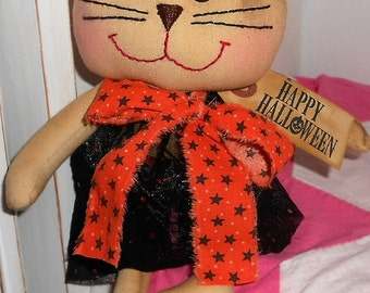 SALE Sale HaLLoWeeN RaGGeDy KITTY CAT Doll Handmade Primitive Cat Doll with Happy Halloween Stamped Tag Hafair