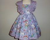 Girls Unicorn Dress - Unicorn Birthday Dress, Toddler Unicorn Dress - Rainbows - Flutter Sleeve Dress - Twirl Dress - Princess Dress