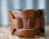 CUSTOM HANDSTAMPED CUFF - bracelet - personalized by Farmgirl Paints - wide brown link cuff