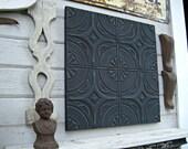 Antique Ceiling Tin Tile. Illinois architectural salvage. Vintage pressed tin. Black metal wall art.  Black Decor. FRAMED metal tile.