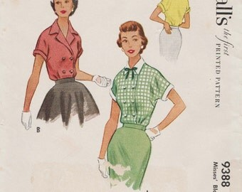 McCalls 9388 / Vintage 50s Sewing Pattern / Double Breasted Blouse / Size 12 Bust 30