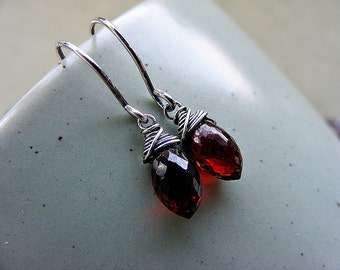 Garnet earrings, red garnet earrings, petite garnet earrings, garnet silver earrings, garnet drop earrings, garnet marquises earrings