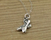 Ballet Slippers Necklace, Sterling Silver Ballerina Shoe Charm on a Silver Cable Chain