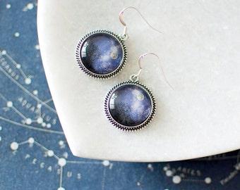 Moon Above the Trees Earrings. Silver Moon Earrings. Moon Jewelry. Blue Moon Earrings. Glass Dome Earrings. Clouds, Night Sky, Moonlight.