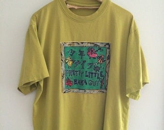 Super Rare Handpainted Shonen Knife vintage T Shirt Hand Sewn Patch vintage basic 90s Oversized Grunge