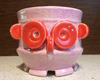 ROpot ambOT -- Robot Owl Cup, Sculpture Mechanical Animal Head