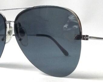 vintage 1980's NOS aviator sunglasses silver metal wire frames blue lenses sun glasses eyewear pilot cop oversized mens womens retro modern