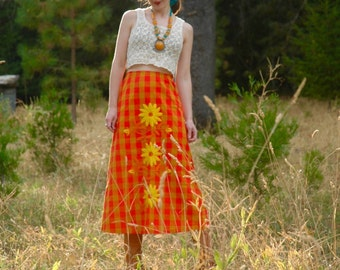Vintage Cotton Maxi Skirt... Embroidered Flowers... Flower Child