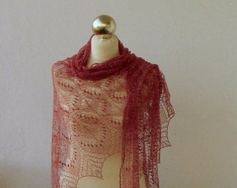 Dusty Rose Pink hand knitted lace shawl with nupps ,Queen Silvia lace shawl, SPRING SALE 25% OFF