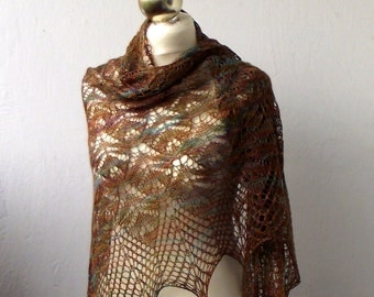 Lace Shawl hand knitted luxurious silk and seacell lace shawl