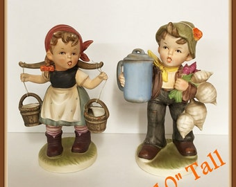 Vintage Large Swiss Girl and Boy Figurine, by Napcoware, 10 inches Tall, Water Buckets, Radishes, Onions, 1960's