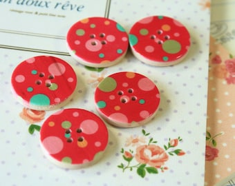 Set 8 RED Craft Ideas Dotty Printed Wood round buttons