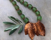 Huge Green Glass Bead Necklace Old Nepal Glowing Green Beads with Large Hammered Copper Leaves Rustic Autumn Necklace